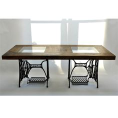 singer sewing table base converted into a dining room table love for the home pinterest copper legs and craft rooms - Kitchen Table Sewing