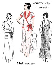 1930's Wrap Dress #3073 (1933). Sewing pattern reproduction for a hooverette house dress at mrsdepew.com.