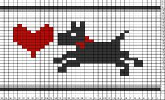 Tricksy Knitter Charts: Puppy Love On the Run by Fair Isle Knitting Patterns, Crochet Stitches Patterns, Knitting Charts, Crochet Chart, Knitting Stitches, Cross Stitch Charts, Cross Stitch Embroidery, Cross Stitch Patterns, Dog Chart