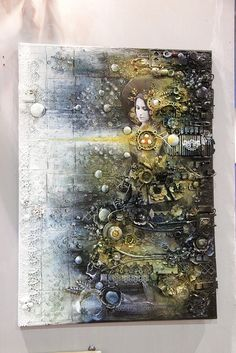 Steampunk mixed media painting--ingeniously artistic. This is something I would never expect to see.