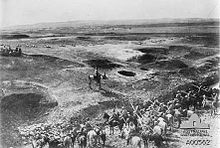 Battle of Hareira and Sheria - Ottoman lancers in foreground, infantry in the distance, with defensive ground works in the Hareira area. Nov 1917