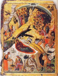 An icon representing the Nativity of Jesus Christ. Serbian Christmas, Orthodox Catholic, Christmas Prayer, Meaning Of Christmas, Byzantine Art, Byzantine Icons, Orthodox Icons, Celtic Designs, Illuminated Manuscript