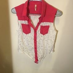 Pink and white laced blouse Only worn twice hot pink and white laced blouse ! Perfect for the summer and smoke free home ! Tops Button Down Shirts