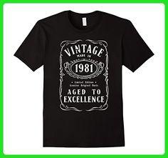 Mens Vintage 1981 Birthday Gift Idea T Shirt Large Black - Birthday shirts (*Amazon Partner-Link)