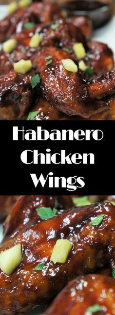 If you're a fan of spicy food, these baked Habanero Chicken Wings are for you. Plain barbeque sauce is combined with a generous amount of habanero hot sauce. Just how much is up to you. We add brown sugar to the sauce for a little sweetness, plus we garnish the spicy wings with chopped pineapple to balance out the spicy kick even more. Two things about these wings, they're messy and they're delicious, so serve them with lots of napkins and grab some while you can.