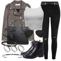 A fashion look from November 2016 featuring brown jacket, ripped jeans and black ankle booties. Browse and shop related looks. Grunge Outfits, Trendy Outfits, Cute Outfits, Fashion Outfits, Womens Fashion, Fashion Trends, Asos Fashion, Fashion News, Leather Jacket Outfits