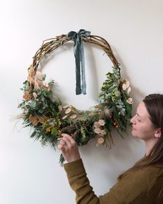 A festive wreath making workshop with stylist Hannah Bullivant. You will make a woven base, and . Rustic Christmas, Christmas Wreaths, Christmas Decorations, Diy Wreath, Grapevine Wreath, Wreath Making, Wreath Ideas, Seasonal Celebration, Christmas Interiors