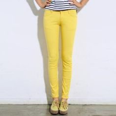 $27 Skinny jeans in yellow, pink (bright coral), green, light blue