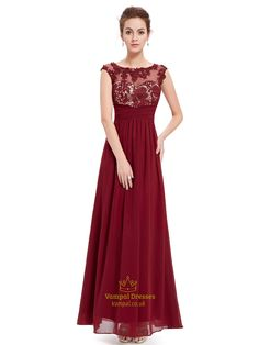 vampal.co.uk Offers High Quality Burgundy Lace Bodice Scoop Neck Chiffon Prom Dress With Cap Sleeves,Priced At Only USD $102.00 (Free Shipping)