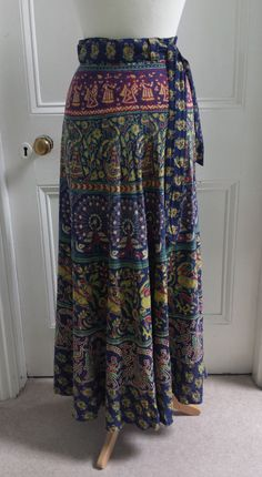 Vtg 70s Wrap Around Maxi Skirt Bohemian Hippie India Boho Ethnic Gypsy 10 12 14