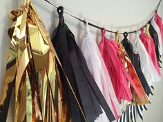 Kate Spade inspired tissue tassel garland by TypeandTassel on Etsy