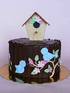 Chocolate birdie cake by bubolinkata, via recipe cake Gorgeous Cakes, Pretty Cakes, Amazing Cakes, Cupcakes, Cupcake Cakes, Spring Cake, House Cake, Bird Cakes, Little Cakes