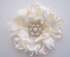 Romantic Ivory Satin Charmeuse Bridal Flower by theraggedyrose, $32.95