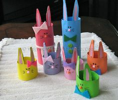 Cute little bunnies made from Toilet paper/ paper towel rolls :)