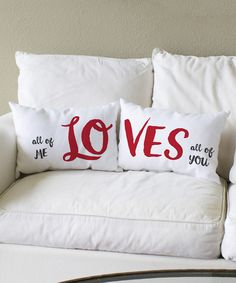 'All of Me Loves All of You' Pillow Pair - Set of Two by OneBellaCasa #zulily #zulilyfinds
