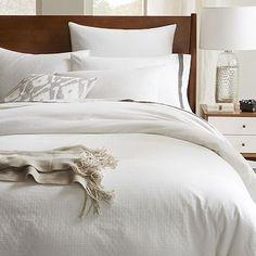 Tile Style Duvet Cover + Shams - Stone White #westelm. Nice subtle pattern.