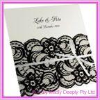 View DIY Wedding Invitation - Pastel White Black Rose Lace