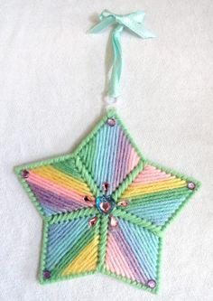 Hand Crafted STAR Ornament Plastic Canvas Green Pink Yellow Blue Purple Yarn #Handmade