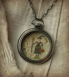 Eek! Pocket Watch Necklace by Brenda Gervais- ebay auction