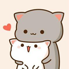 ☆ Save = Follow me ☆ ♡ Follow me = I love you ♡ Cute Love Pictures, Cute Images, Kawaii Wallpaper, Kawaii Cute, Cute Love Drawings, Kawaii Drawings, Chibi Cat, Cute Chibi, Cat Icon