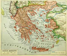 Greece in the early before Turkey conquered the eastern territories that Greece had been assigned in the aftermath of WWI Greek History, European History, United Nations Peacekeeping, Greece Map, Fantasy Map, Alternate History, Old Maps, Historical Maps, Vintage Posters