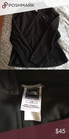Black NorthFace Half zip, super fuzzy and great for layering! The tag says women's large but I'm listing it as womens medium. Great condition North Face Tops Sweatshirts & Hoodies