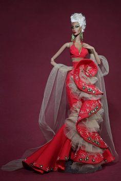 Lady in red Barbie Gowns, Barbie Dress, Barbie Clothes, Fashion Royalty Dolls, Fashion Dolls, Fashion Dresses, Gypsy Fashion, Moda Fashion, Diva Dolls