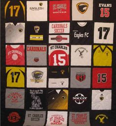 She takes your old hockey jerseys and makes a quilt-worth every ... : quilts made from sports jerseys - Adamdwight.com