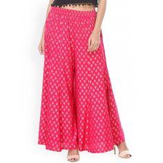 Buy Varanga Pink Rayon Printed Regular Fit Palazzos online - Looksgud.in