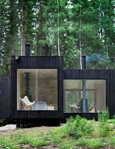 black boxes in the woods! replace stark, singular butterflies with some colour/cozy