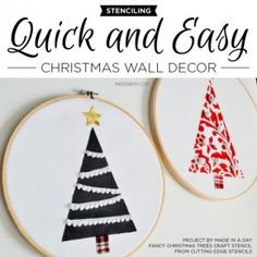 stenciling quick and easy christmas wall decor Stencil Wall Art, Stencil Decor, Craft Stencils, Christmas Tree Crafts, Simple Christmas, Holiday Crafts, Art Journal Tutorial, Cutting Edge Stencils, Video Games For Kids