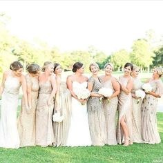 A champagne gold bridal party begins with the perfect mix of dresses. This bridal party is wearing bridesmaid gowns by Adrianna Papell