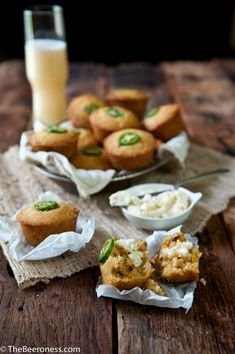 jalapeno cornbread beer bread muffins with salted beer honey butter.