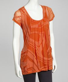 Take a look at this Lynn Ritchie Orange Swirl Pocket Burnout Top - Women on zulily today!