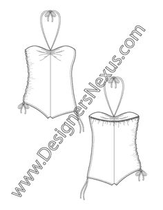 Swimwear Flat Sketch V5 One-Piece Halter Swimsuit with Sweetheart Neckline and Side Seam Ruching