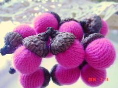 7 Hot Pink CASHMERE ACORNS upcycled retired by CustomWarmWoolies, $11.00