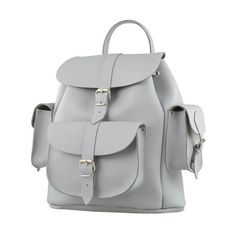 Grafea Women's Medium Leather Rucksack - Misty ($245) ❤ liked on Polyvore featuring bags, backpacks, rucksack bags, real leather backpack, leather knapsack, leather rucksack and grafea