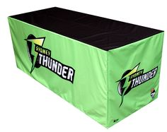 Bringing the thunder and lightning with this striking table cover from Star Outdoor. Sydney Thunder can be proud of their new  custom-printed table cover for their events. Want one for your company's event? Visit www.staroutdoor.com.au and see their huge range of outdoor promotional products.