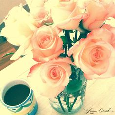 the best way to start the day #roses #coffee