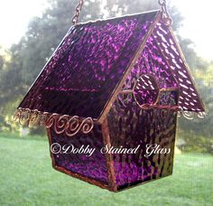 Stained Glass Birdhouse - Purple with Copper Swirls