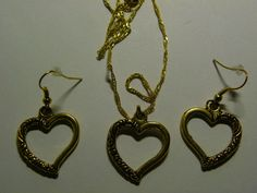 Dangle Gold Heart Earrings & Necklace Set  341 by ritascraftsandmore on Etsy