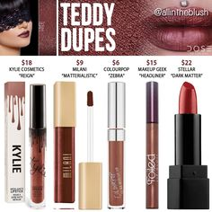Dose of Colors Teddy Liquid Lipstick Dupes - All In The Blush Makeup Geek Eyeshadow Swatches, Makeup Geek Palette, Drugstore Makeup Dupes, Lipstick Dupes, Beauty Dupes, Liquid Lipstick, Lip Swatches, Highlighter Makeup, Contour Makeup