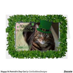 Shop Happy St Patrick's Day Cat Card created by CatGoddessDesigns. Cat Lover Gifts, Cat Gifts, Cat Lovers, Crazy Cat Lady, Crazy Cats, Happy St Patricks Day, Cat Cards, Custom Greeting Cards, Store Design