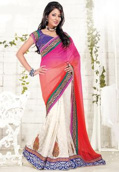 Pink and Cream Faux Chiffon and Art Silk Jacquard Saree With Blouse