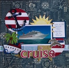 March Designer Challenge. I was inspired by a Disney cruise layout I saw on Pinterest. Background paper by Graphic 45 (first time I've used this company) Circles, dolphins, palm trees, anchor - all Silhouette Studio files. Ribbon - old rak pkg I had that needed to be used up Ship/swirls/sun - designed by me and cut with cutter
