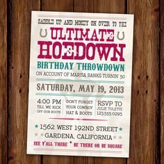 Vintage Hoedown Invitation - Country Western -