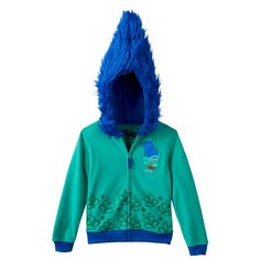 Girls 4-6x DreamWorks Trolls Branch Applique Hoodie, Med Blue