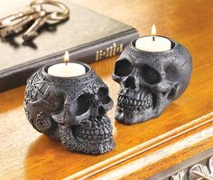 15 Creepy Gothic Candle Holder Ideas for a Scary Halloween Ornate stone skull candle holders When it comes to Halloween decor, there are usually two main routes you can take — cute, or scary.