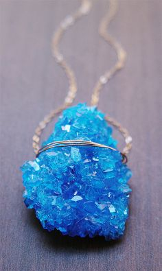 Blue Chalcanthite Gold Necklace by friedasophie on Etsy