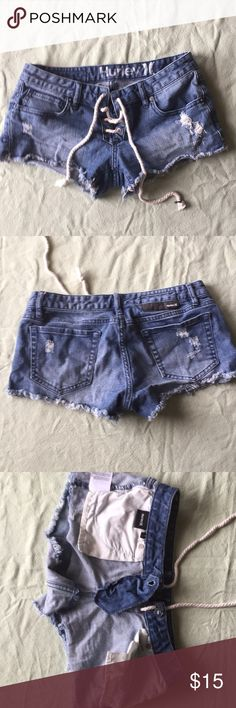 Hurley shorts Hurley shorts with lace/ string in front Hurley Shorts Jean Shorts